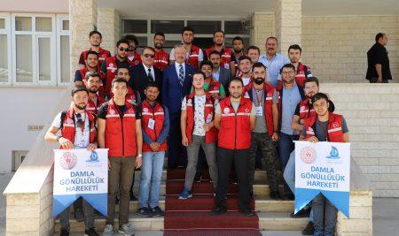"""""""Damla Projesi"""" Gönüllü Gençlerinden  Rektörümüze Ziyaret"""