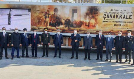 Üniversitemiz Rektörü Prof. Dr. Akın Levent Çanakkale Savaşları Mobil Müzesini Ziyaret Etti.